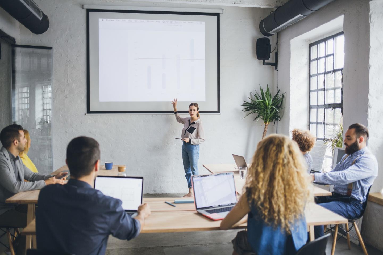 Businesswoman making presentation